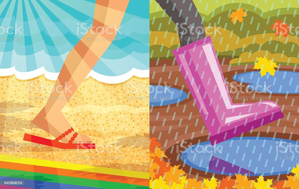Step from summer to autumn vector art illustration