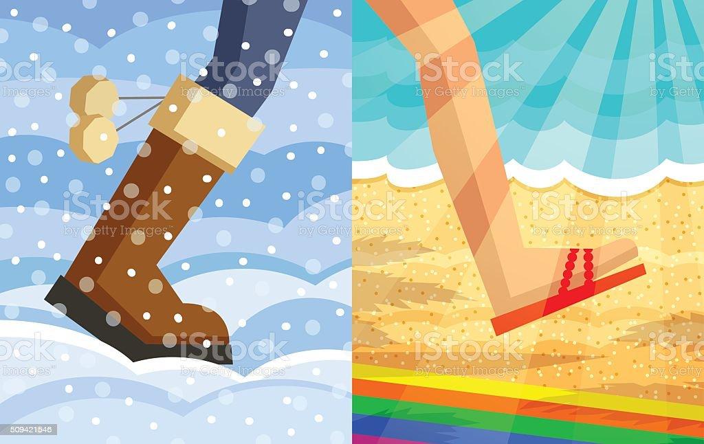 Step from winter to summer vector art illustration