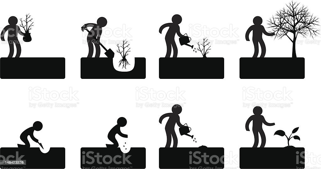 Step-by-step illustrations of a figure gardening vector art illustration