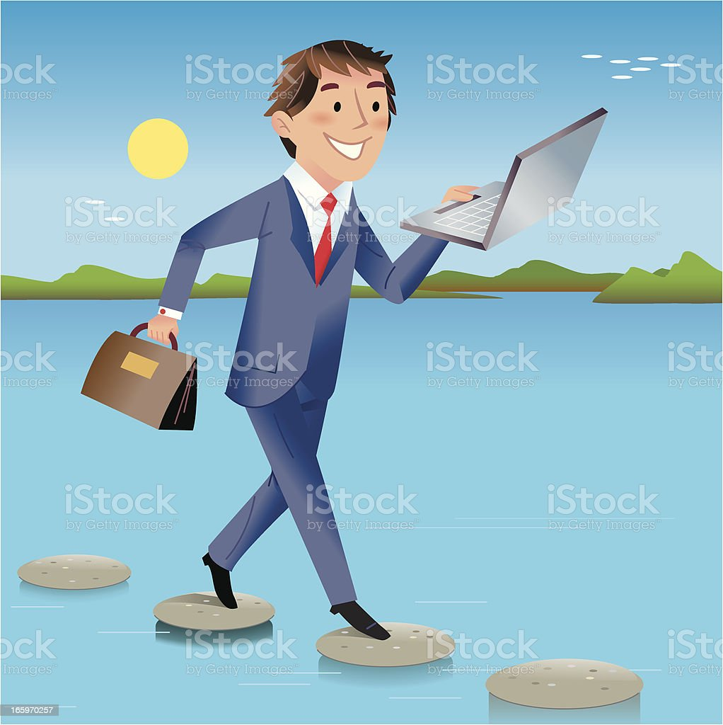 Stepping stones to success royalty-free stock vector art