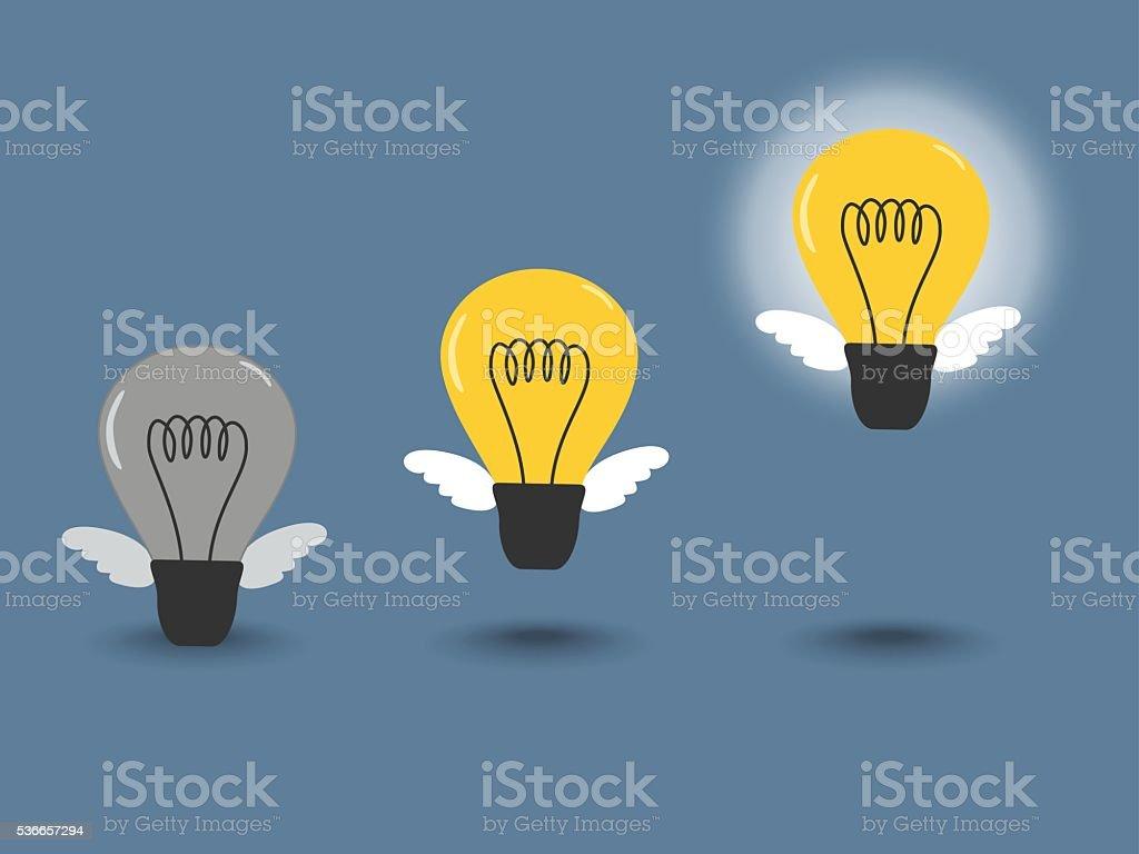 steps creativity, concept of get an idea and no idea vector art illustration