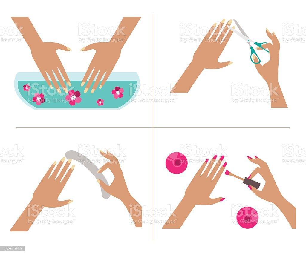 Steps manicure. Vector Illustration vector art illustration