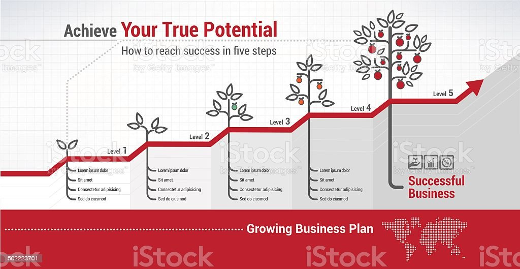 Steps to success vector art illustration