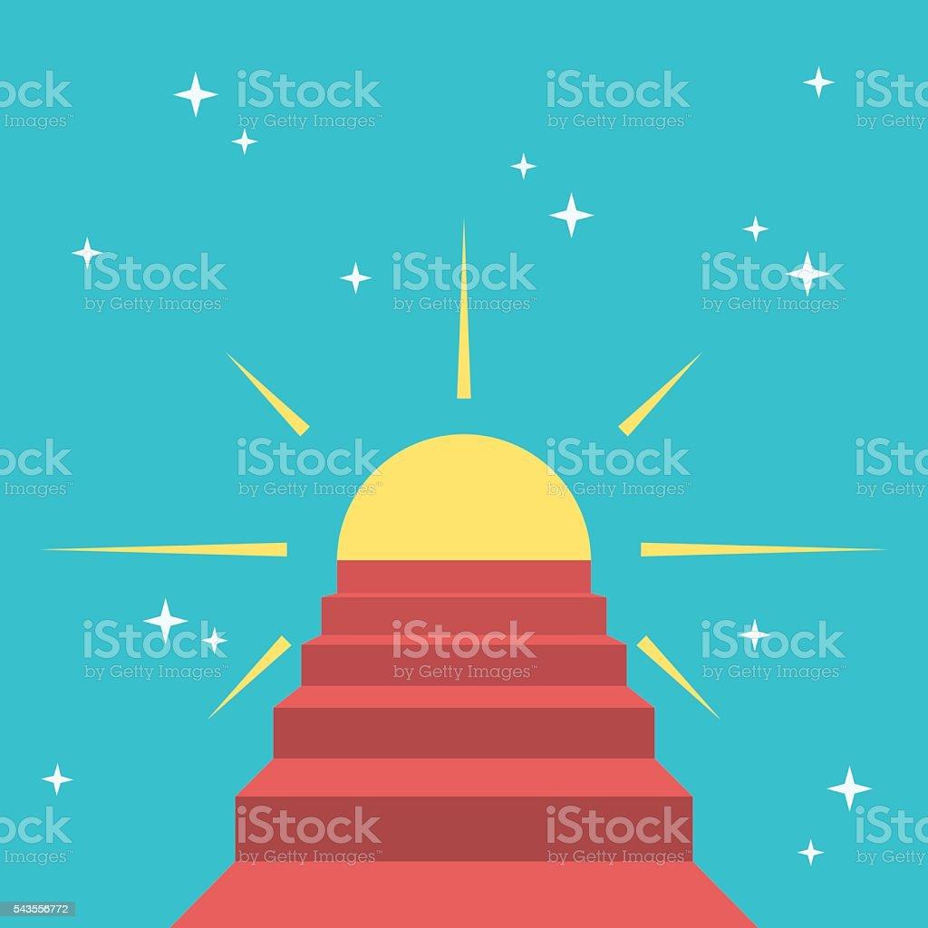 Steps to sun vector art illustration