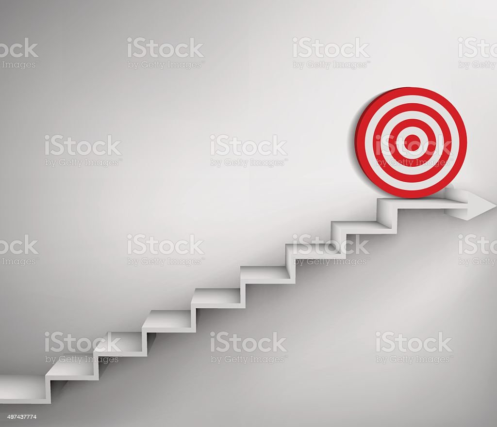 Steps with goal target business concept vector art illustration