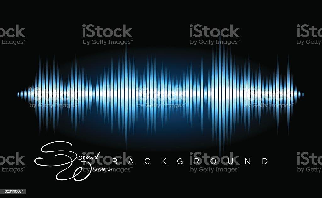 Stereo audio waveform poster vector art illustration