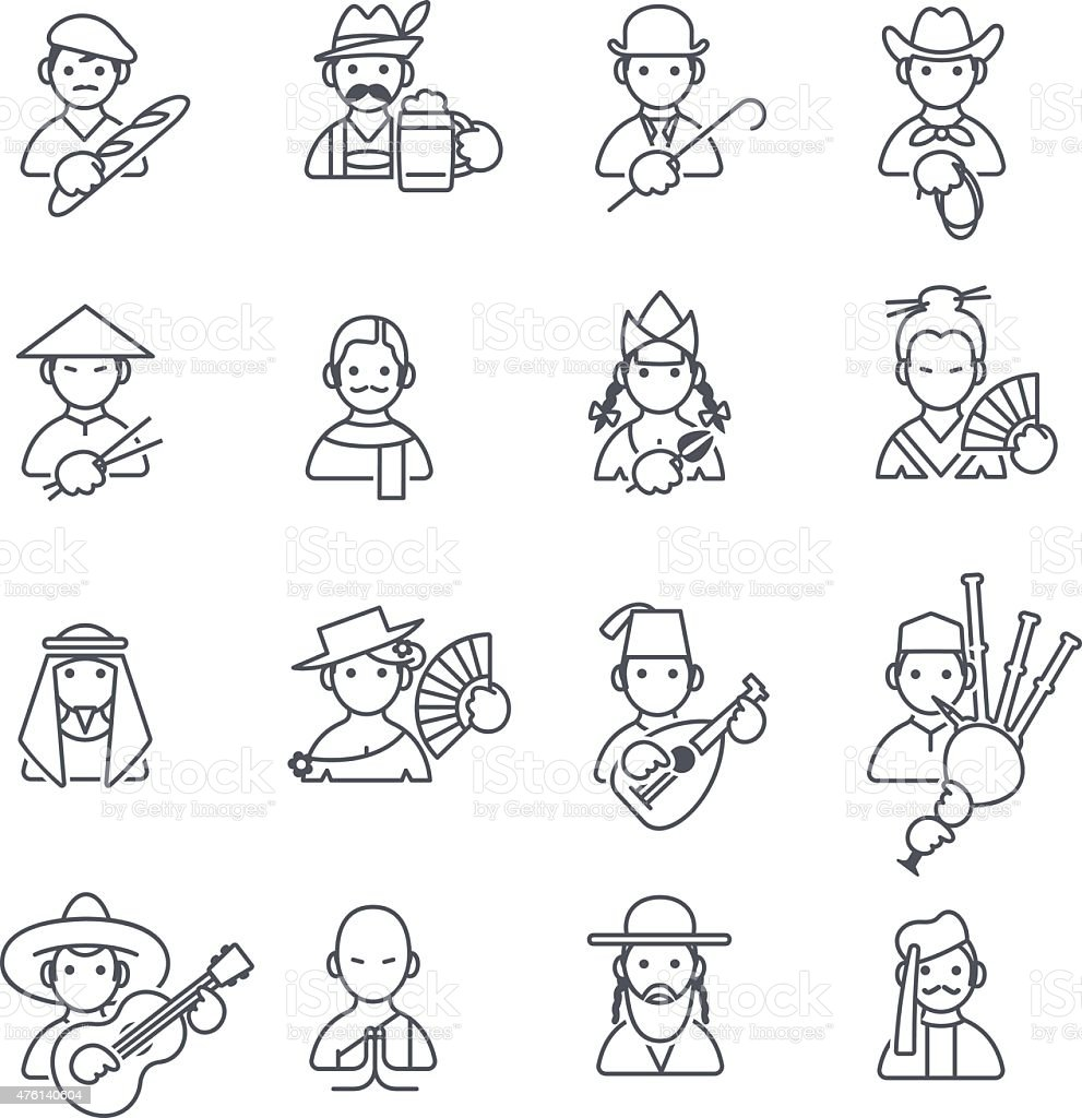 Stereotypes people thin icons vector art illustration