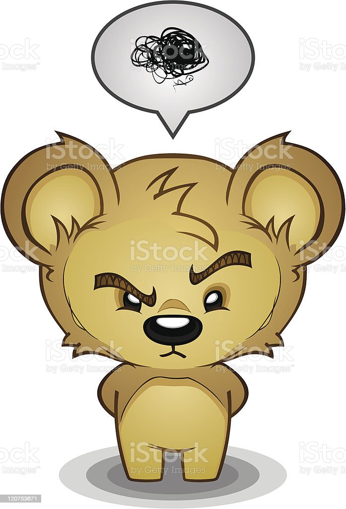 Stern Frustrated Bear vector art illustration