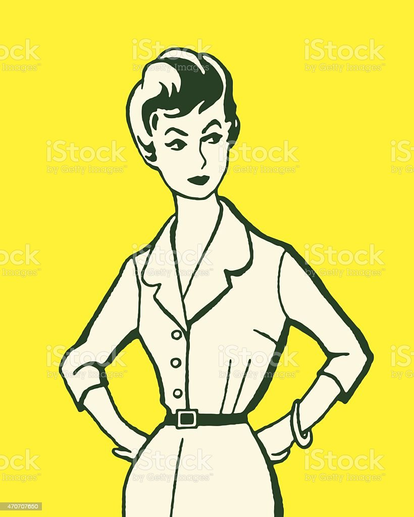 Stern Woman vector art illustration