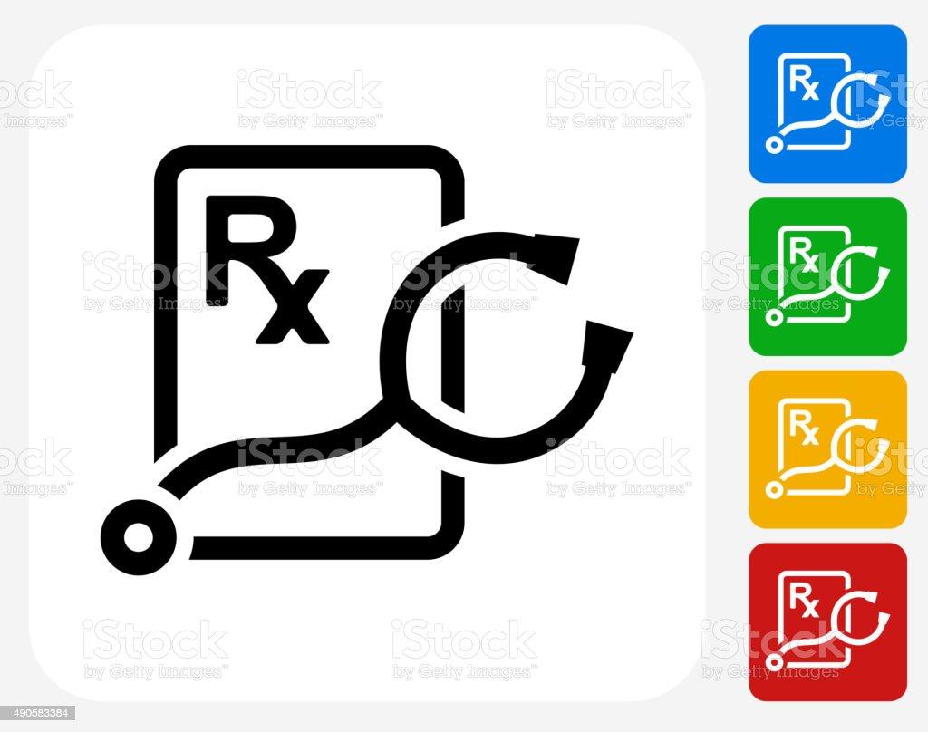 Stethoscope and RX Prescription Icon Flat Graphic Design vector art illustration