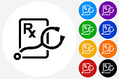 Stethoscope and RX Prescription Icon on Flat Color Circle Button