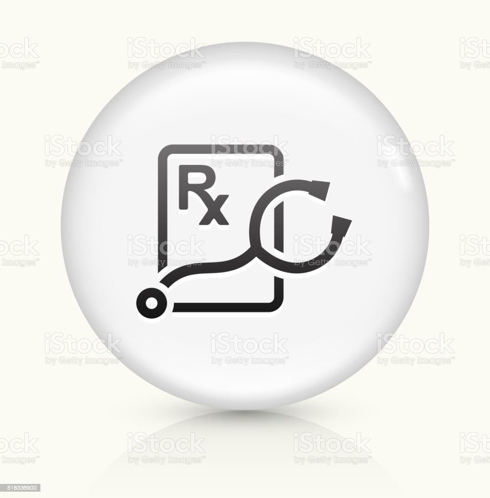 Stethoscope and RX Prescription icon on white round vector button vector art illustration