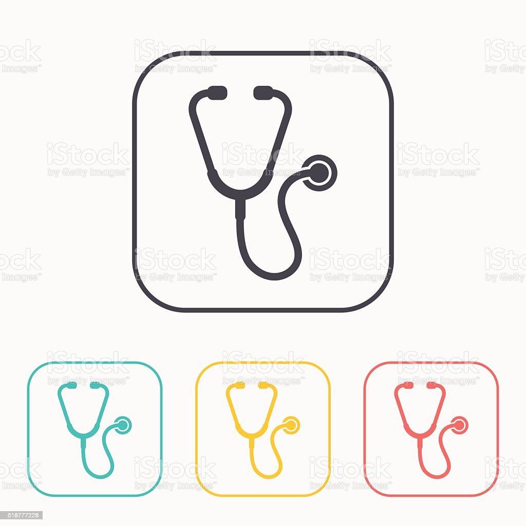 Stethoscope color icon set vector art illustration