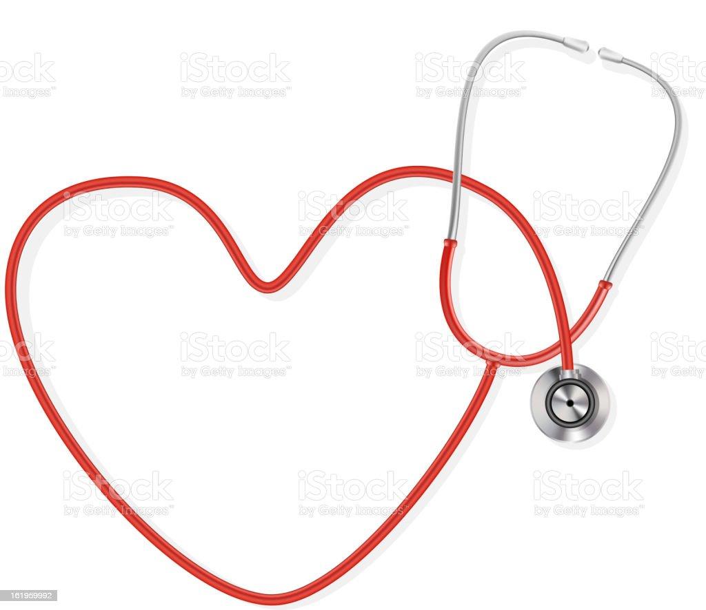 stethoscope in heart shape form vector art illustration