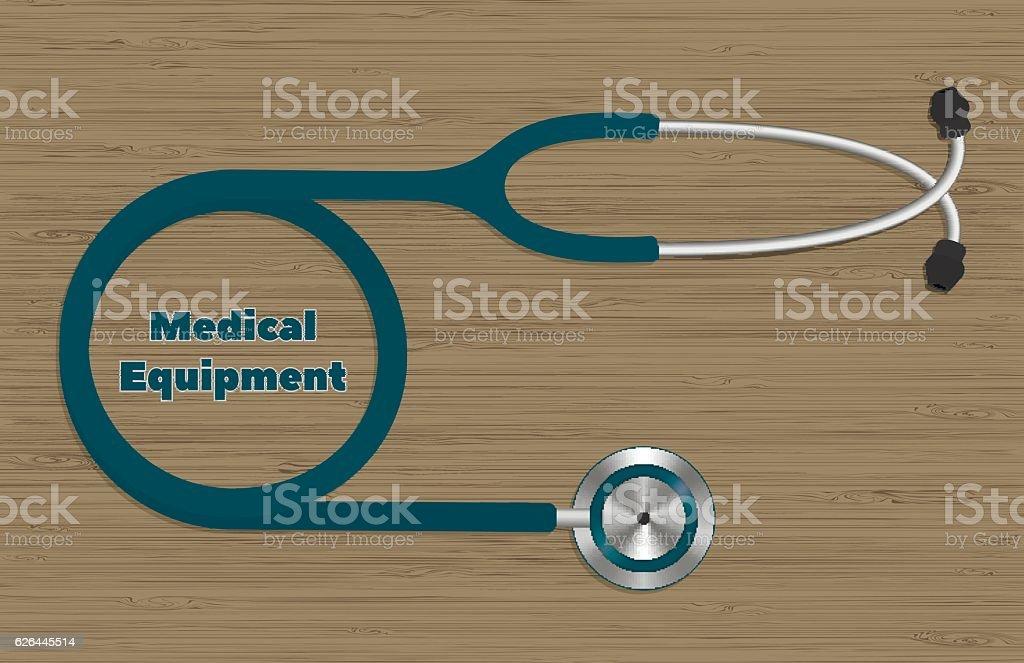 stethoscope (phonendoscope) located on the wooden texture vector art illustration