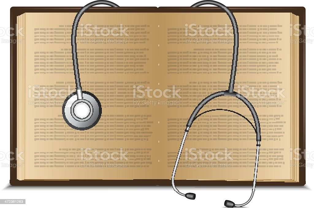 Stethoscope on medical book royalty-free stock vector art