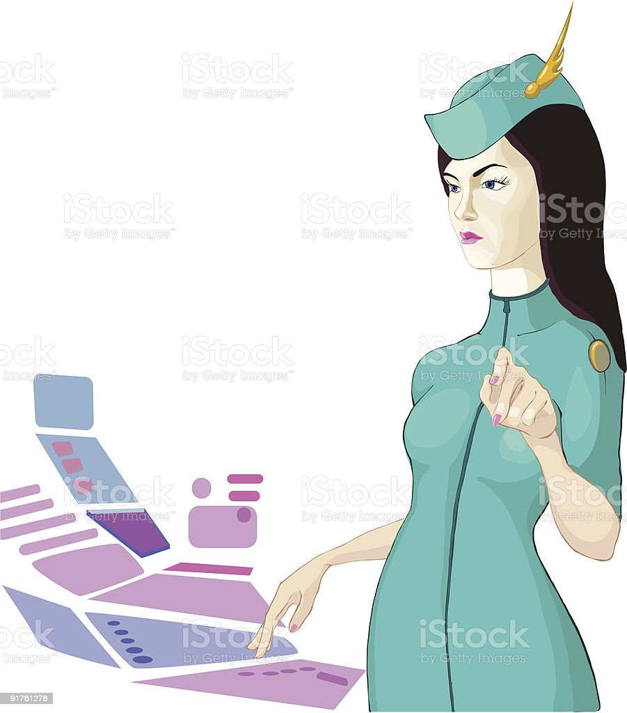 Stewardess from a spaceship royalty-free stock vector art