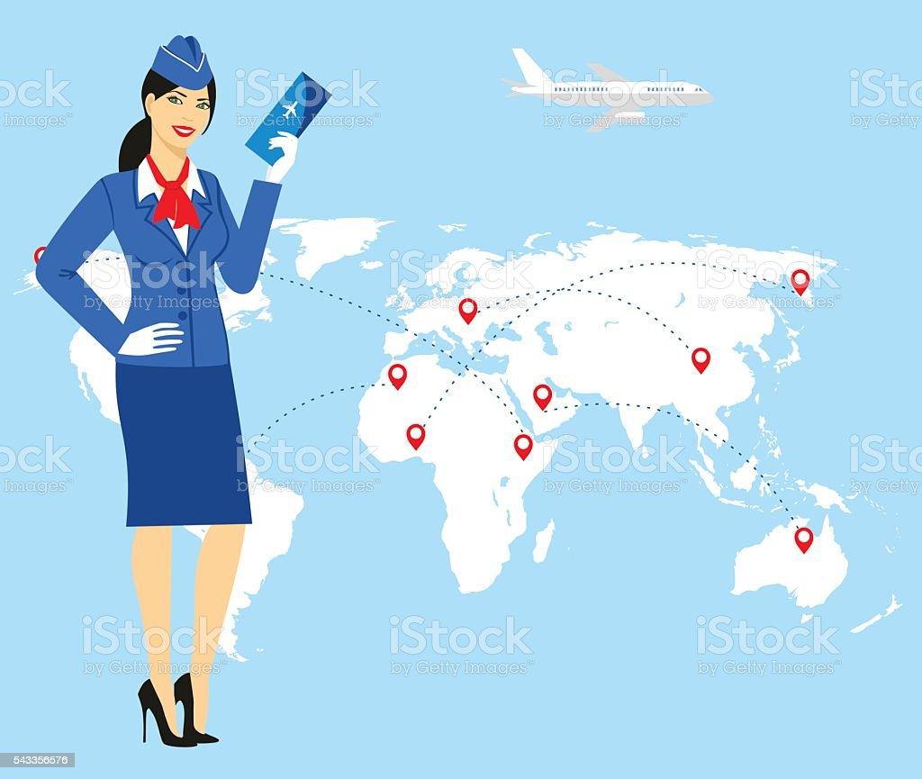 stewardess in blue uniform holding tickets in hand vector art illustration