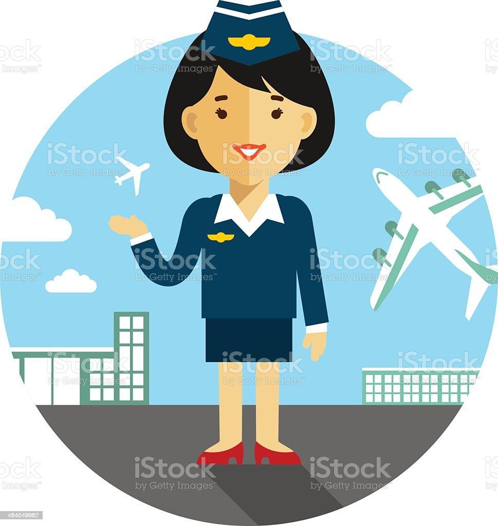 Stewardess on airport background vector art illustration