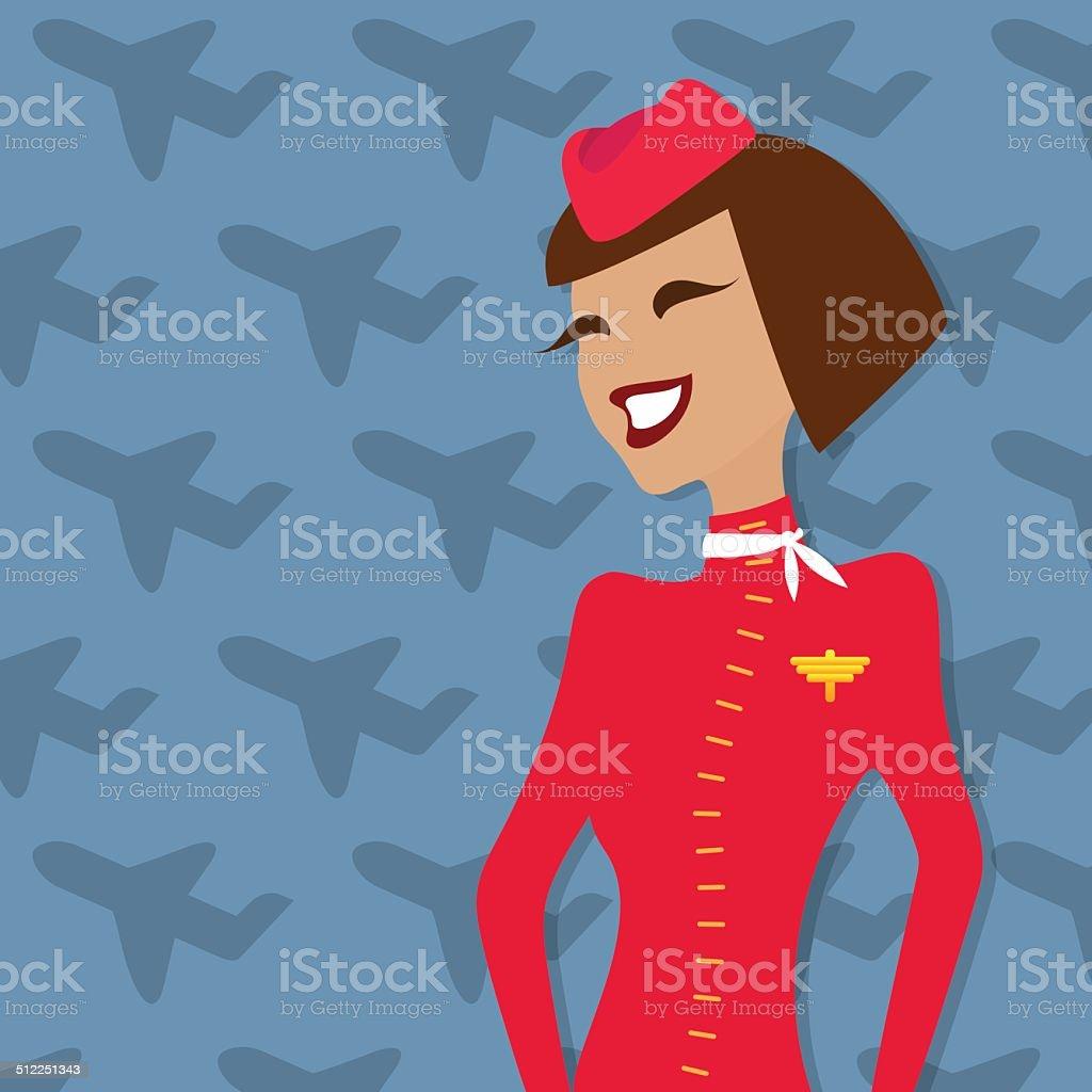 Stewardess, people occupation, airline advertisement. Vector illustration. vector art illustration