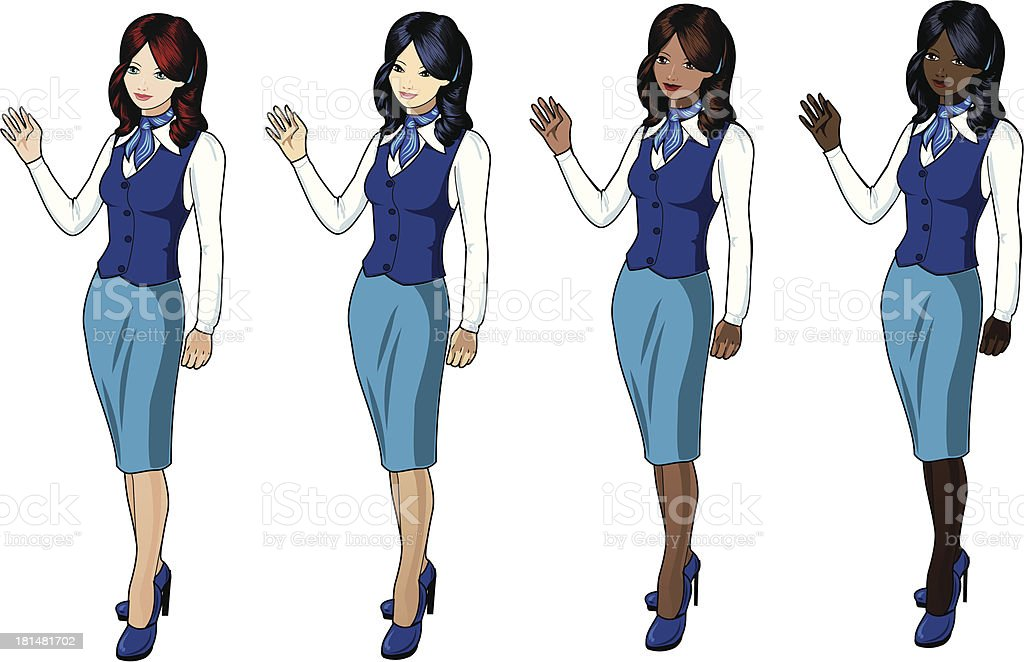 Stewardesses in blue skirts and jackets royalty-free stock vector art