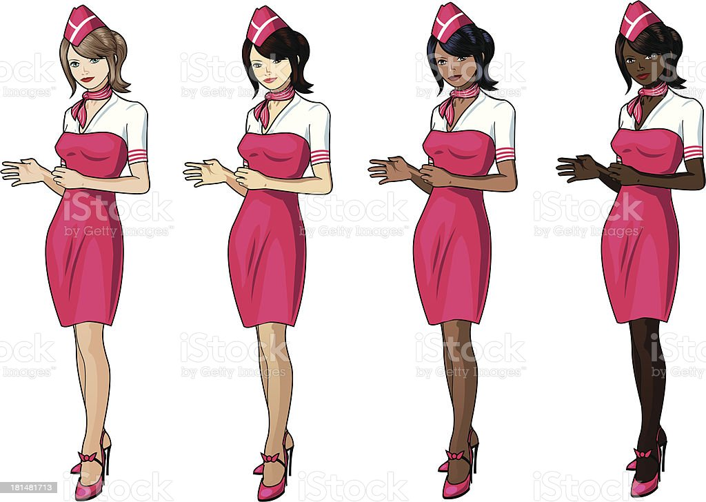 Stewardesses in pink skirts royalty-free stock vector art