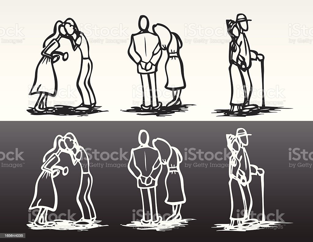 Stick Couples royalty-free stock vector art
