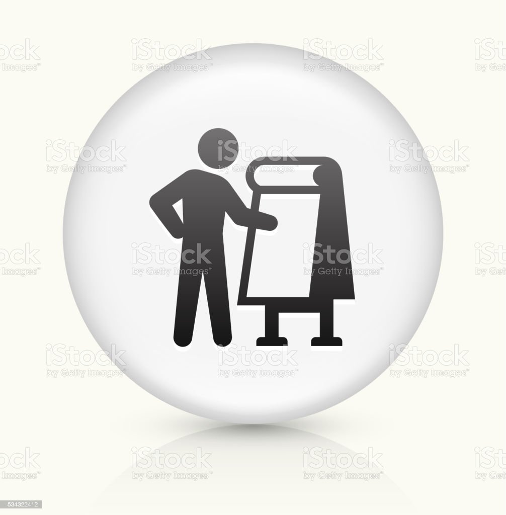 Stick Figure and Paper icon on white round vector button vector art illustration