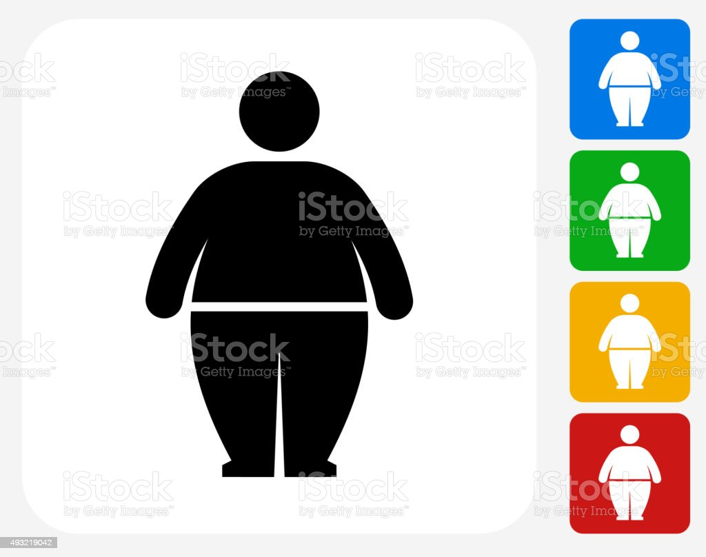 Stick Figure and Weight Gain Icon Flat Graphic Design vector art illustration
