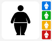 Stick Figure and Weight Gain Icon Flat Graphic Design