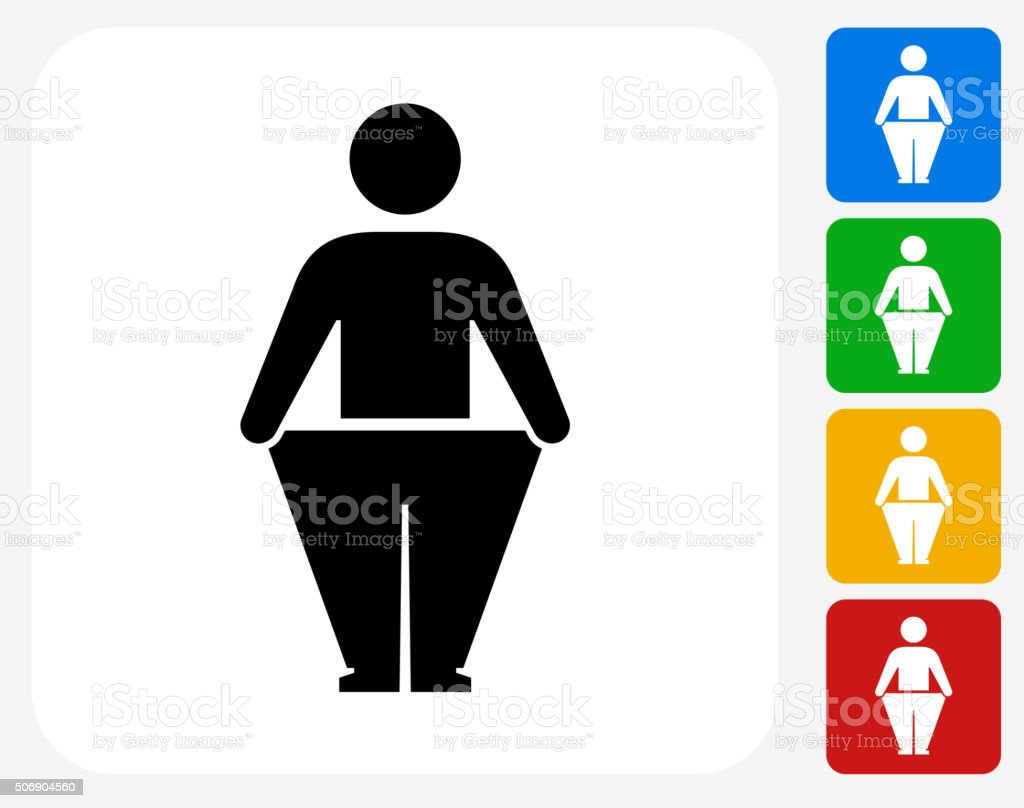 Stick Figure and Weight Loss Icon Flat Graphic Design vector art illustration