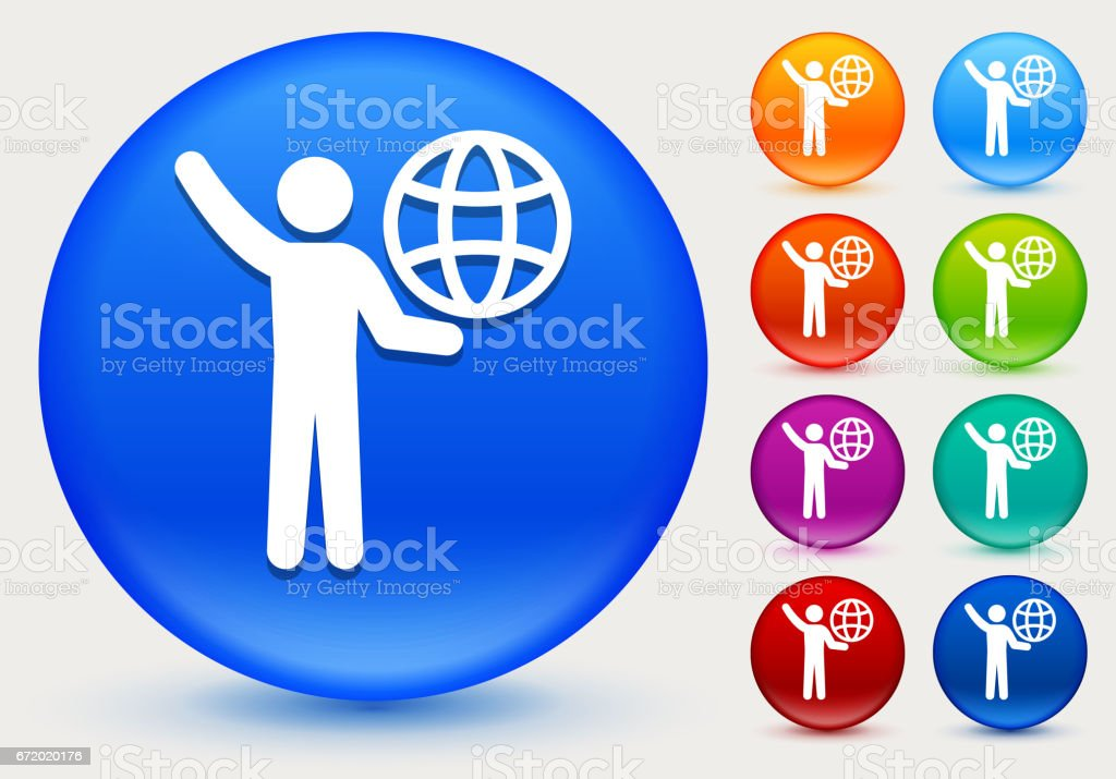 Stick Figure Carrying Globe Icon on Shiny Color Circle Buttons vector art illustration