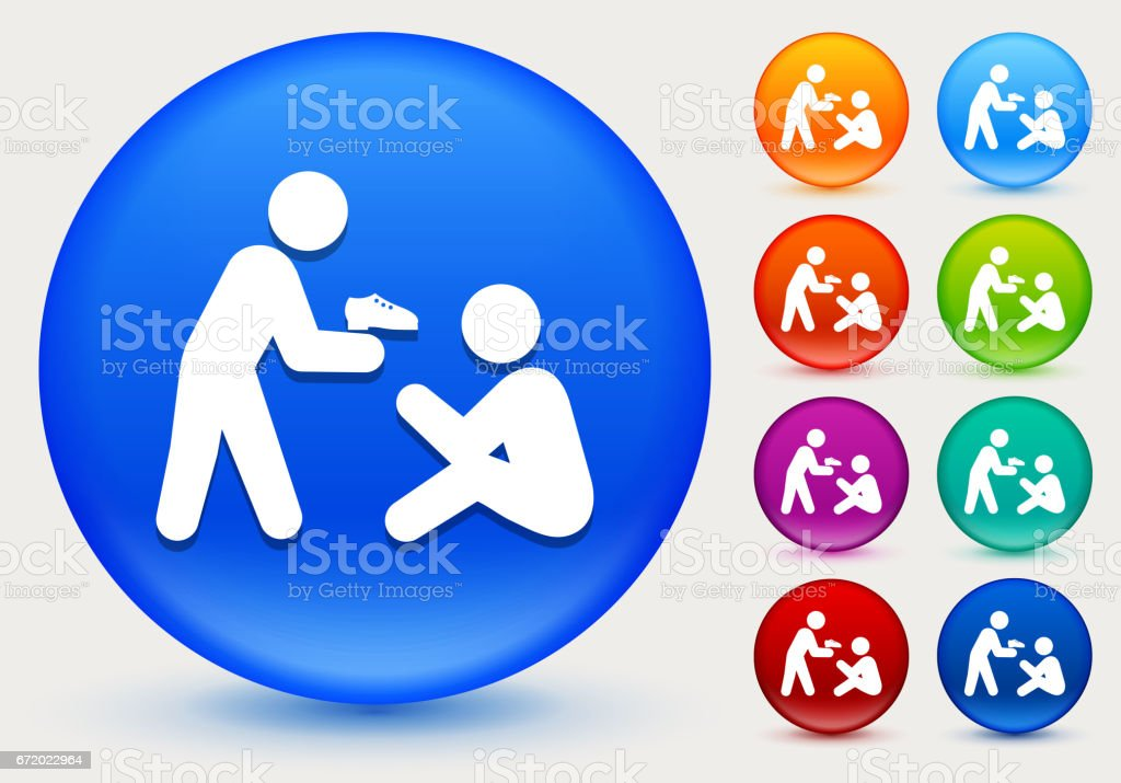Stick Figure Charity Icon on Shiny Color Circle Buttons vector art illustration