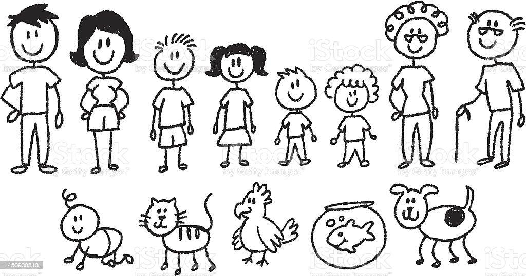 stick figure family vector art illustration