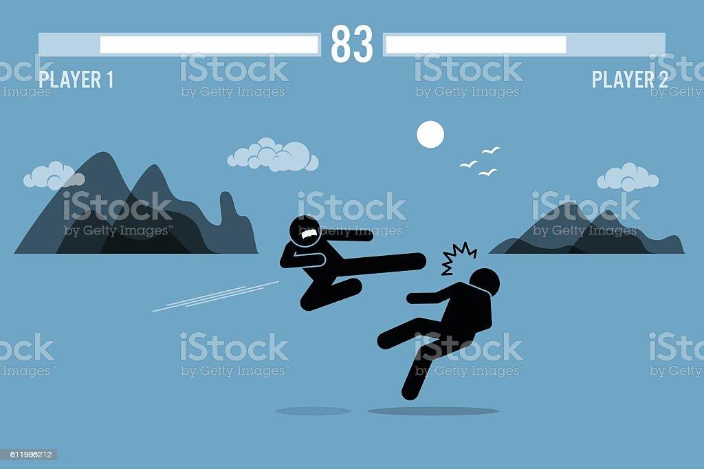 Stick figure fighter inside Video Game vector art illustration