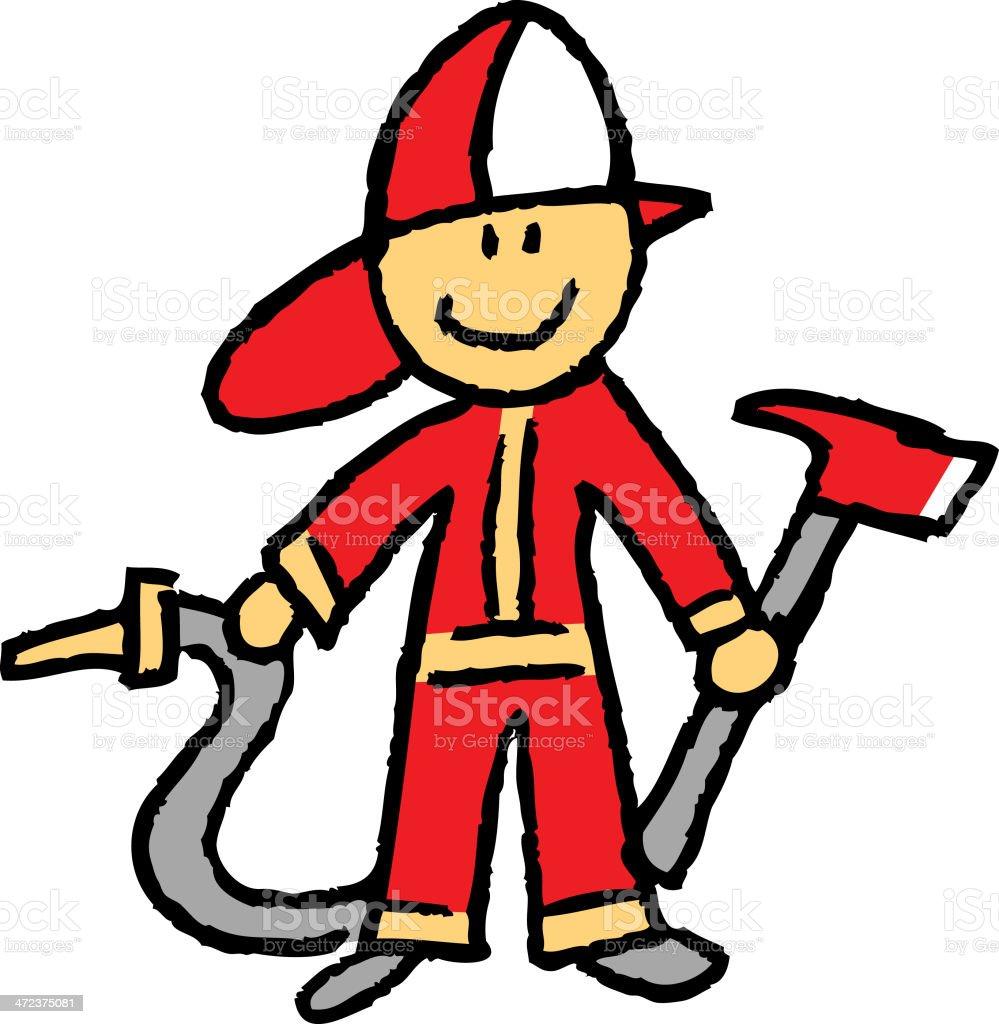 stick figure fireman vector art illustration