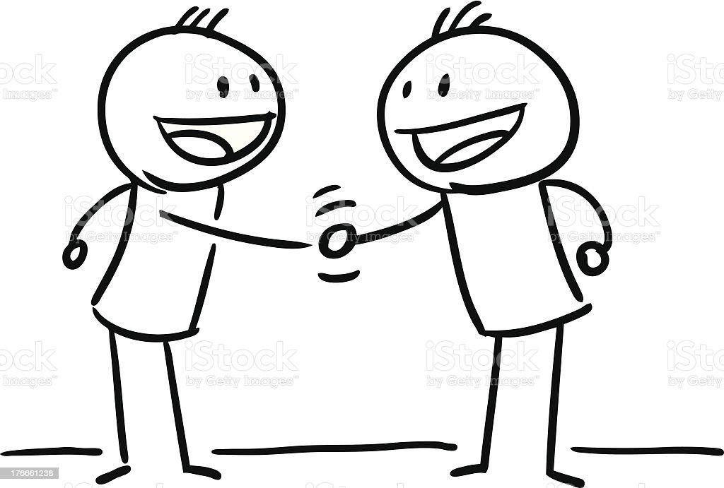 Stick Figure Hand Shake vector art illustration