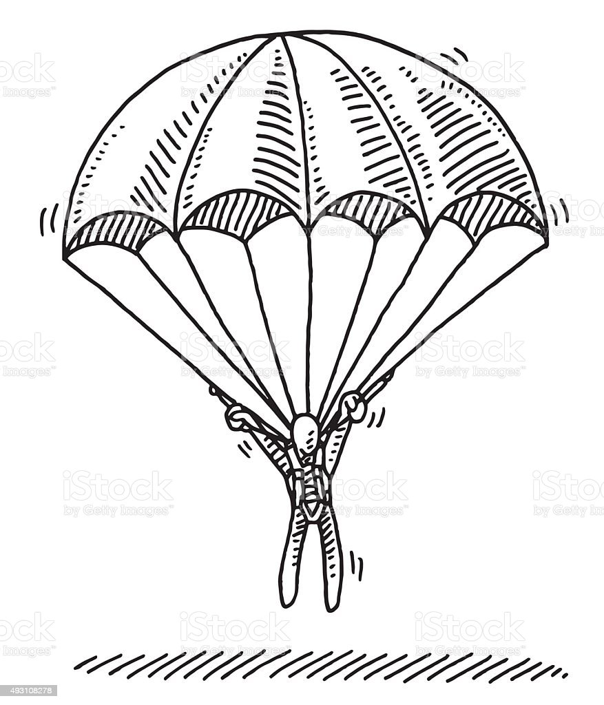 Stick Figure Hanging On Parachute Landing Drawing vector art illustration