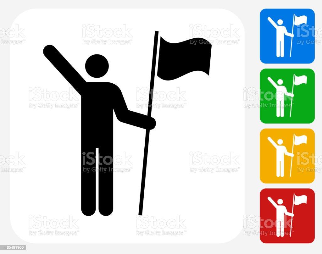 Stick Figure Holding Flag Icon Flat Graphic Design vector art illustration