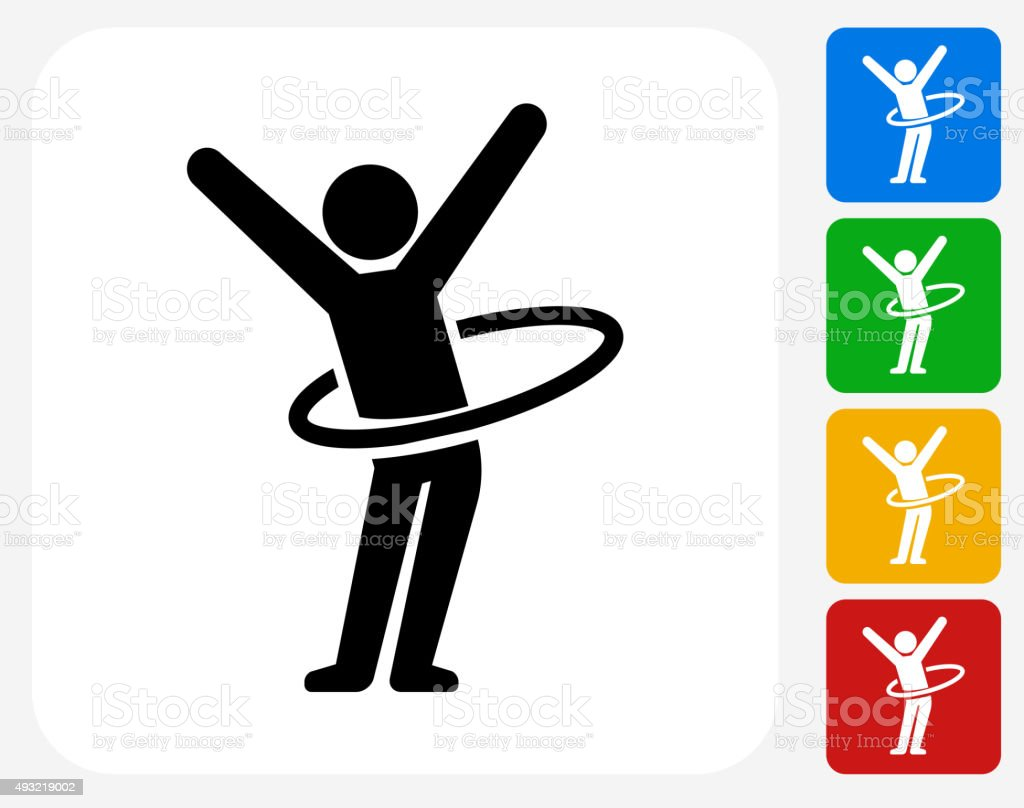 Stick Figure Hula Hooping Icon Flat Graphic Design vector art illustration
