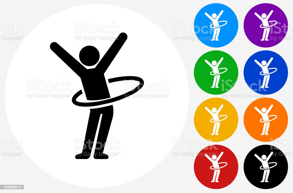 Stick Figure Hula Hooping Icon on Flat Color Circle Buttons vector art illustration