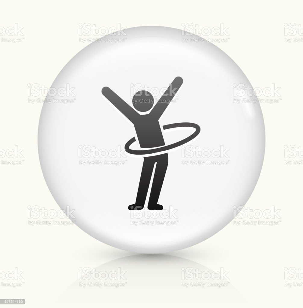Stick Figure Hula Hooping icon on white round vector button vector art illustration
