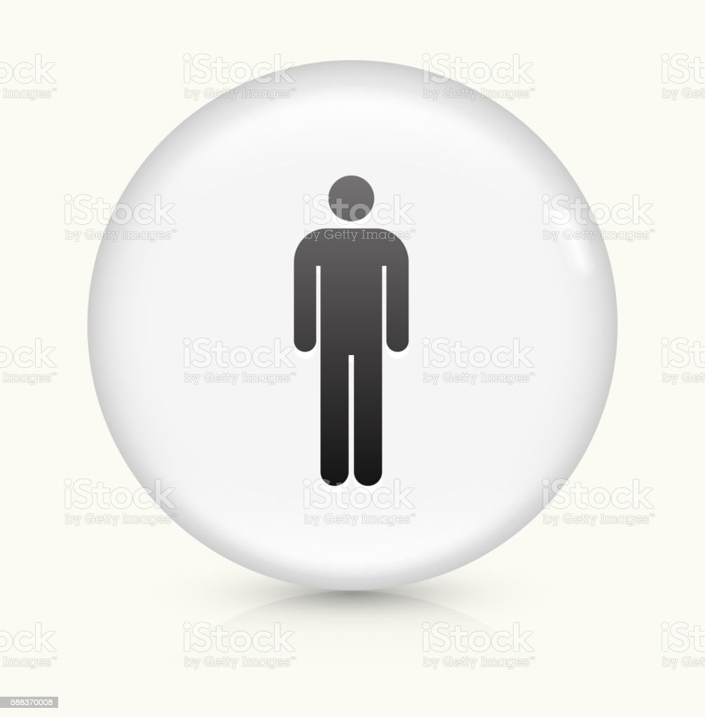 Stick Figure icon on white round vector button vector art illustration