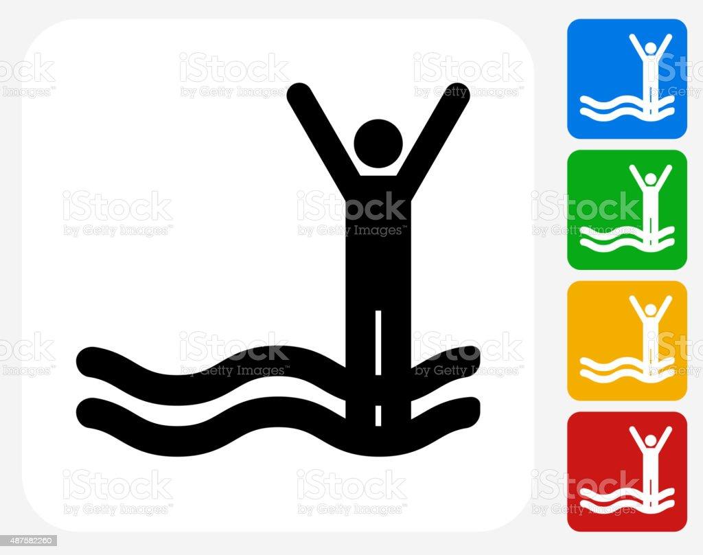 Stick Figure in Flood Icon Flat Graphic Design vector art illustration
