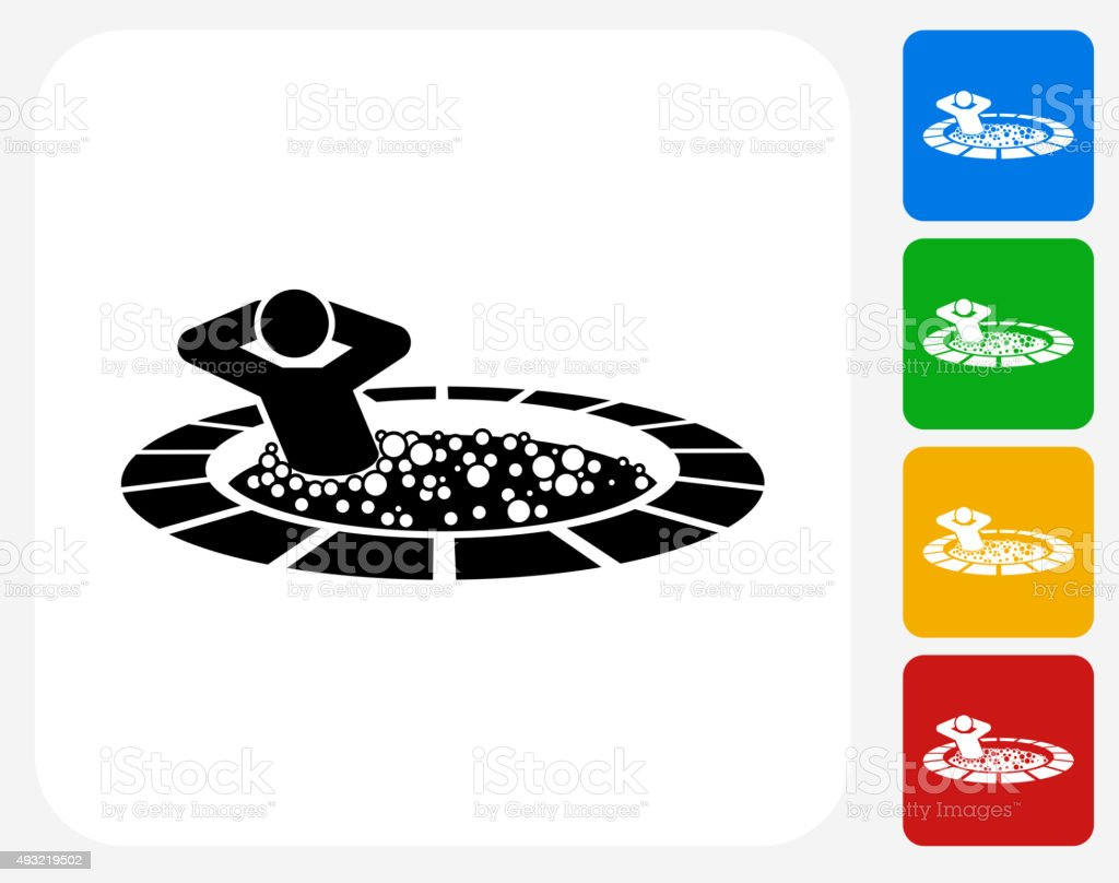 Stick Figure in Hot Tub Icon Flat Graphic Design vector art illustration