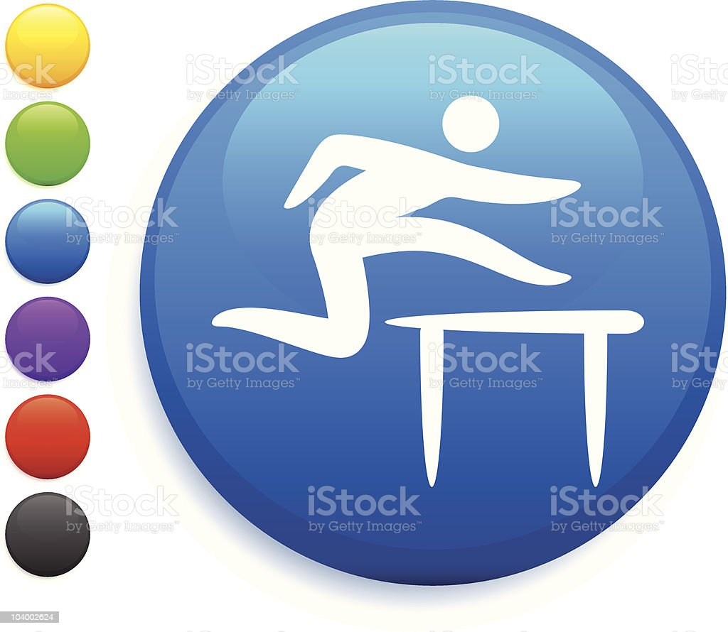 Stick Figure jumping over hurdler in Olympics button icon royalty-free stock vector art
