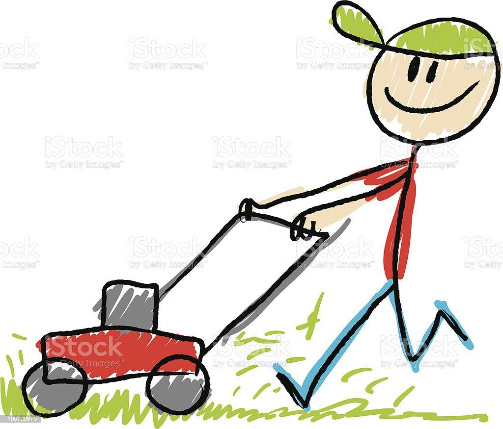 Stick figure lawn mower stock vector art 165720675 istock for Lawn care vector