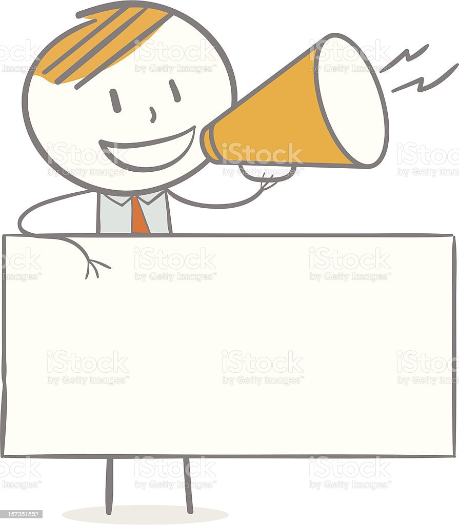 Stick figure man with orange hair and megaphone announcing vector art illustration