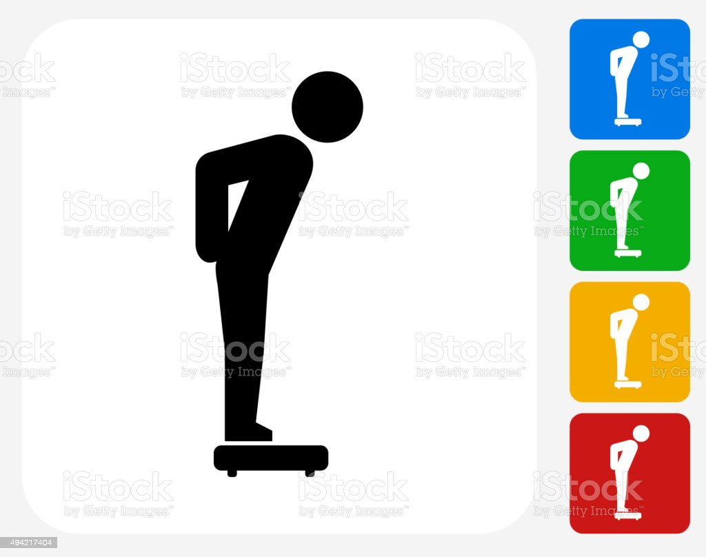 Stick Figure on the Scale Icon Flat Graphic Design vector art illustration