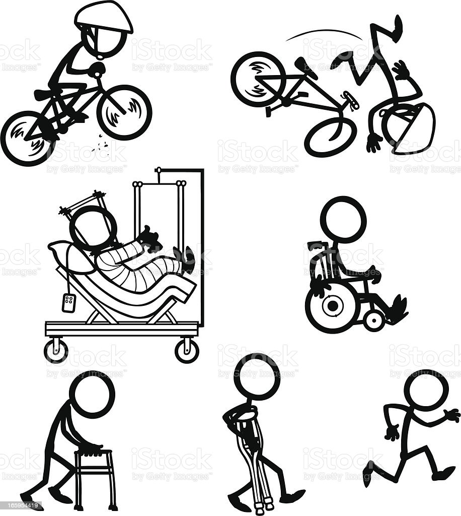 Stick Figure People Bike Accident Recovery vector art illustration